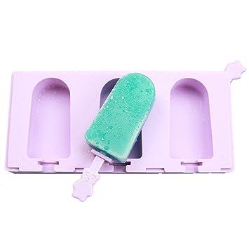 Moldes de silicona para hacer palos de helado TinB con tapas y palos, sin BPA, para hacer cremas de hielo para niños, color morado: Amazon.es: Hogar