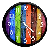 SUPERIORFE Classic 12 Inch Multi-Colors Rainbow Clock Non Ticking Wall Clock