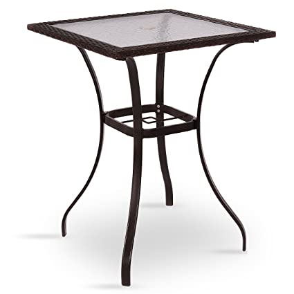 Patio Outdoor Rattan Square Bistro Table W/Glass Top With Ebook