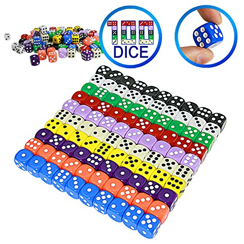Extra Dice - YOUSHARES 100 Pcs Multi-Color Dice Set – 10 Assorted Color with 10 Pcs each, 16mm D6 Standard Dice with Extra Carrying Bag, Perfect for Board Games: Tenzi, Yahtzee and also Casino Games