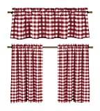 Wine Red White Kitchen Curtains: Gingham Checkered Plaid Design