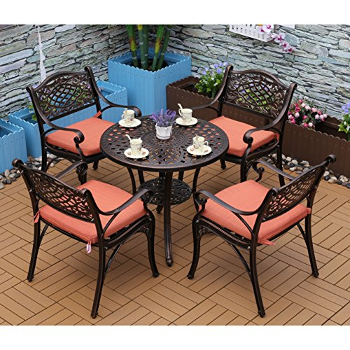 YONGCUN Outdoor Patio Furniture Cast Aluminum Dining Set Patio Dining Table Chair Color is Antique Bronze One 31″ Table Four Chair