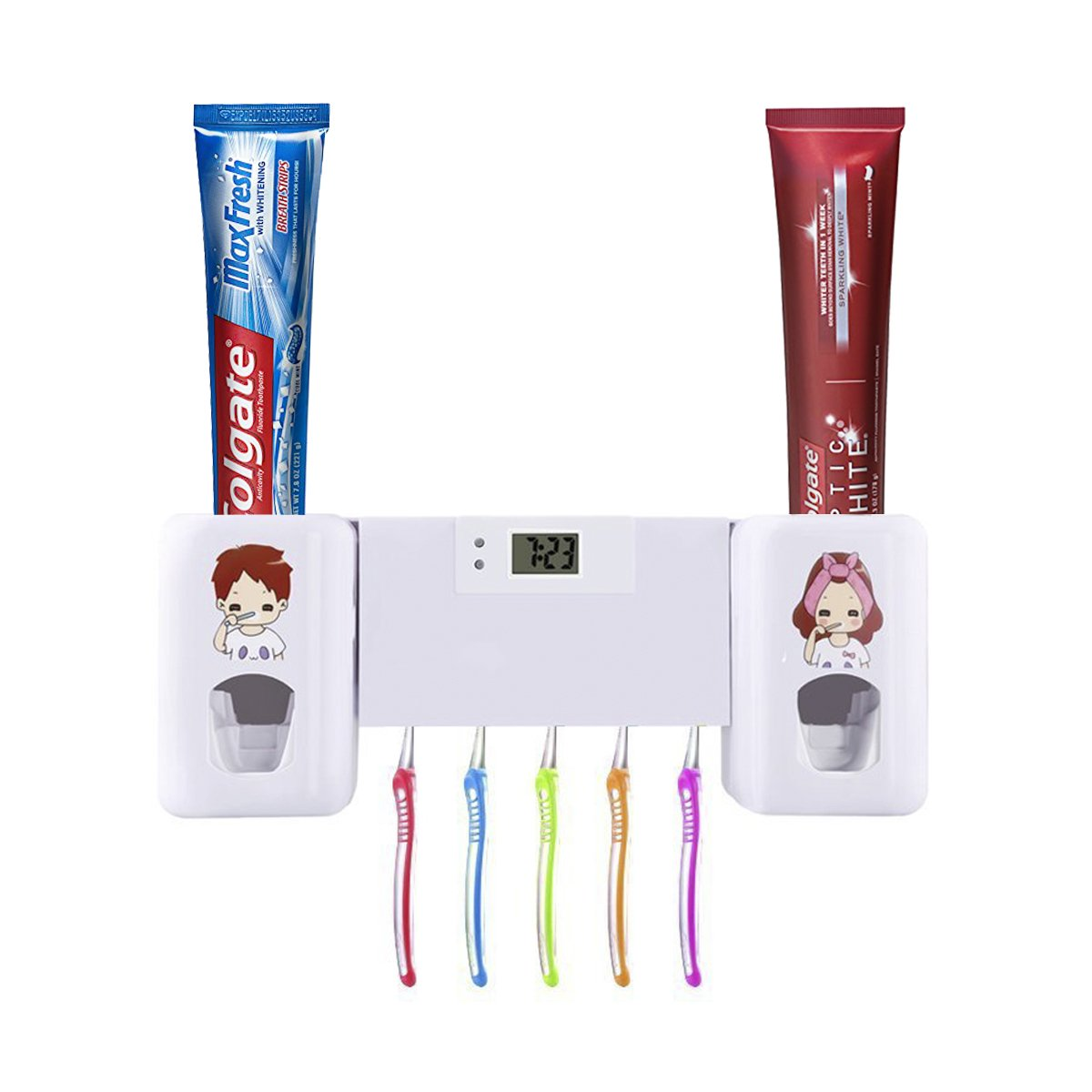 Puersit Automatic Toothpaste Dispenser Toothbrush Holder Set Hands Free Double Toothpaste Squeezer With Electronic Watch For Both Adults And Kids Super Sticky Bathroom Accessory Set