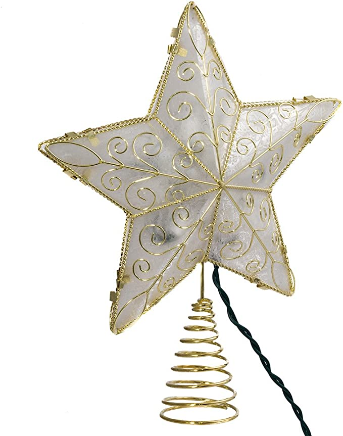Speciality Paper Star Tree Topper Black and Gold Grid