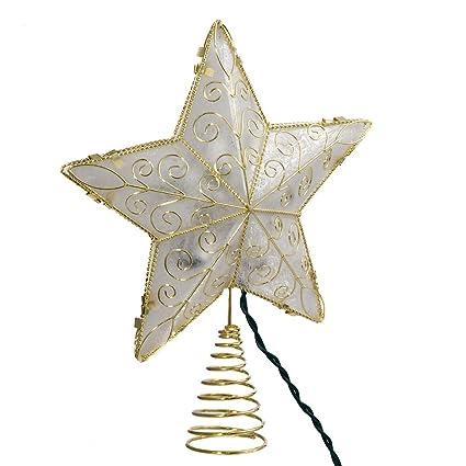 kurt adler 10 light 85 inch gold reflector star treetop