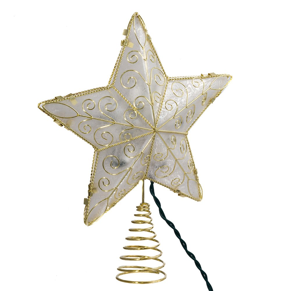Kurt Adler 10 Light 8.5-Inch Gold Reflector Star Treetop