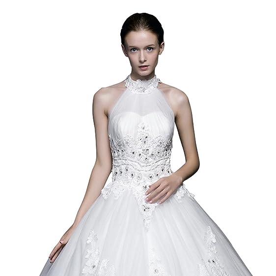JovassBridal Women\'s Halter Bridal Gowns Tulle Long Wedding Dresses ...