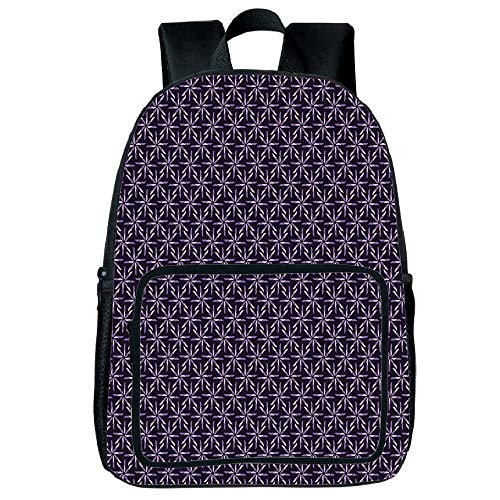 Light Weight Loss Square Front Bag Backpack,Geometric,Pinwheel Design with Dark Color Palette Abstract Pattern Winter Motifs,Mauve Lavander Purple,for Children,Print Design.15.7