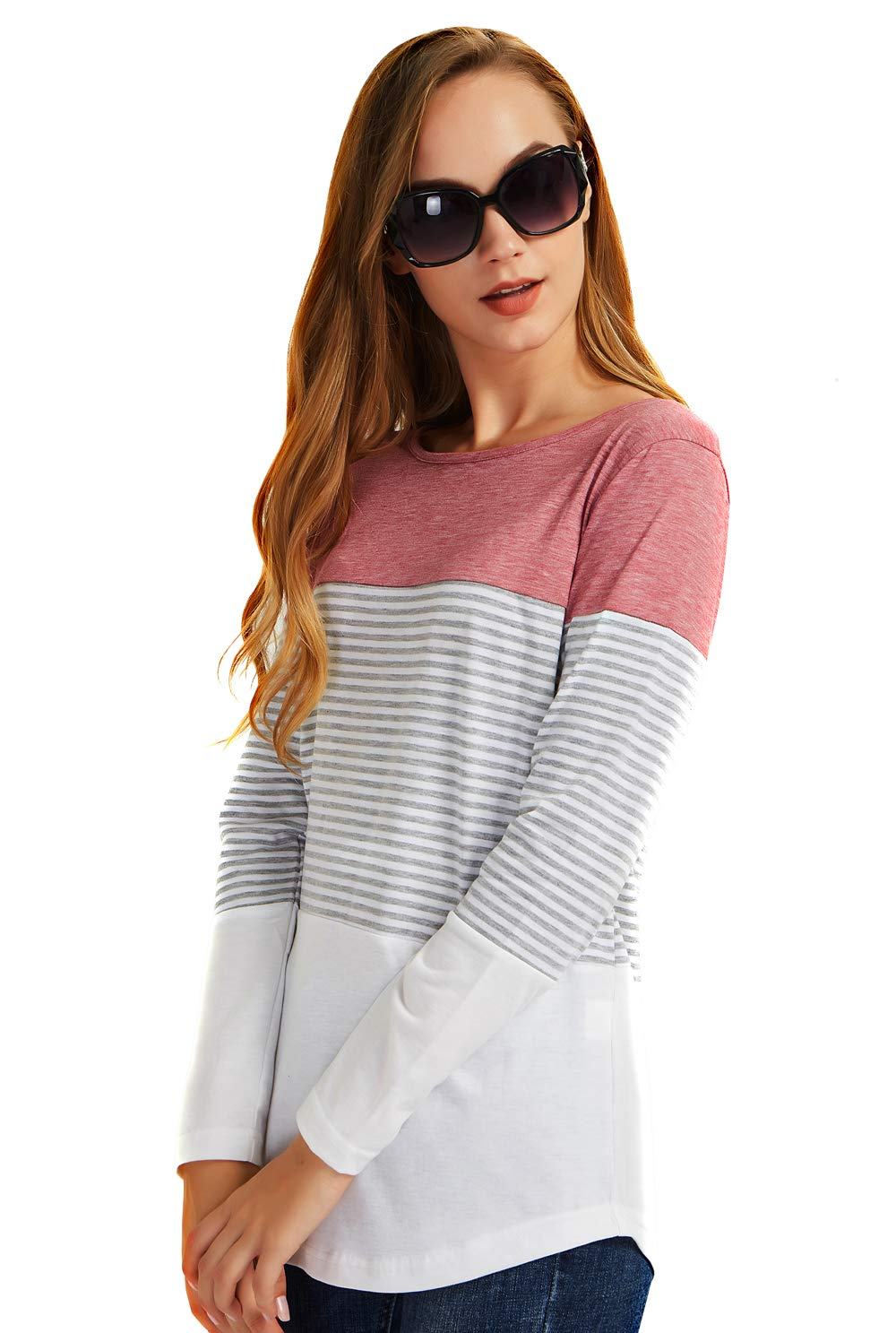 Round Neck Blouses T-Shirts for Women Long Sleeve Pullover Tops Casual Shirts XL