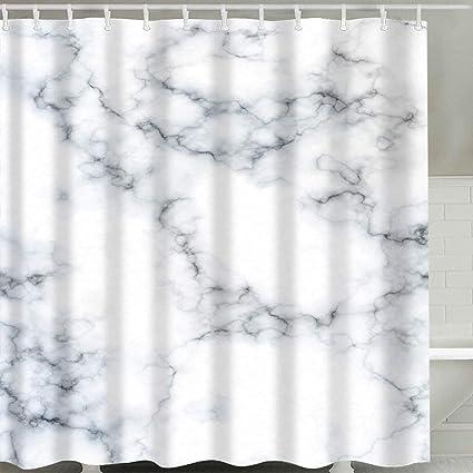 BROSHAN Modern Marble Shower CurtainWhite Black And Blue Textured Decor Bath Curtain Elegant