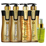 Keratin Cure 0% Formaldehyde Bio-Brazilian Hair Treatment Gold & Honey 15 oz 5 piece Kit 460 ML Safe for all