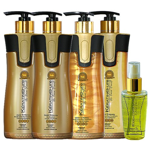 Keratin Cure 0% Formaldehyde Bio-Brazilian Hair Treatment Gold & Honey 15 oz 5 piece Kit 460 ML Safe for all by Keratin Cure