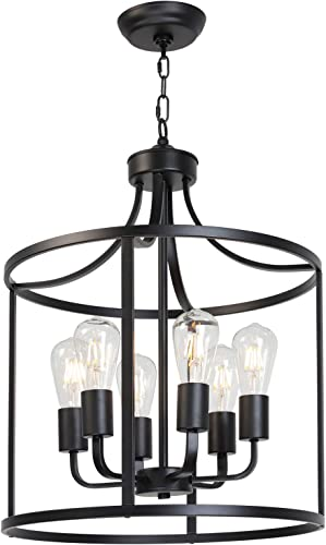 VINLUZ Classic Chandeliers 6 Lights Foyer Pendant Light Black Rustic Farmhouse Lighting Metal Round Modern Ceiling Light Fixture Hanging for Dining Room Kitchen Island Entryway Bar