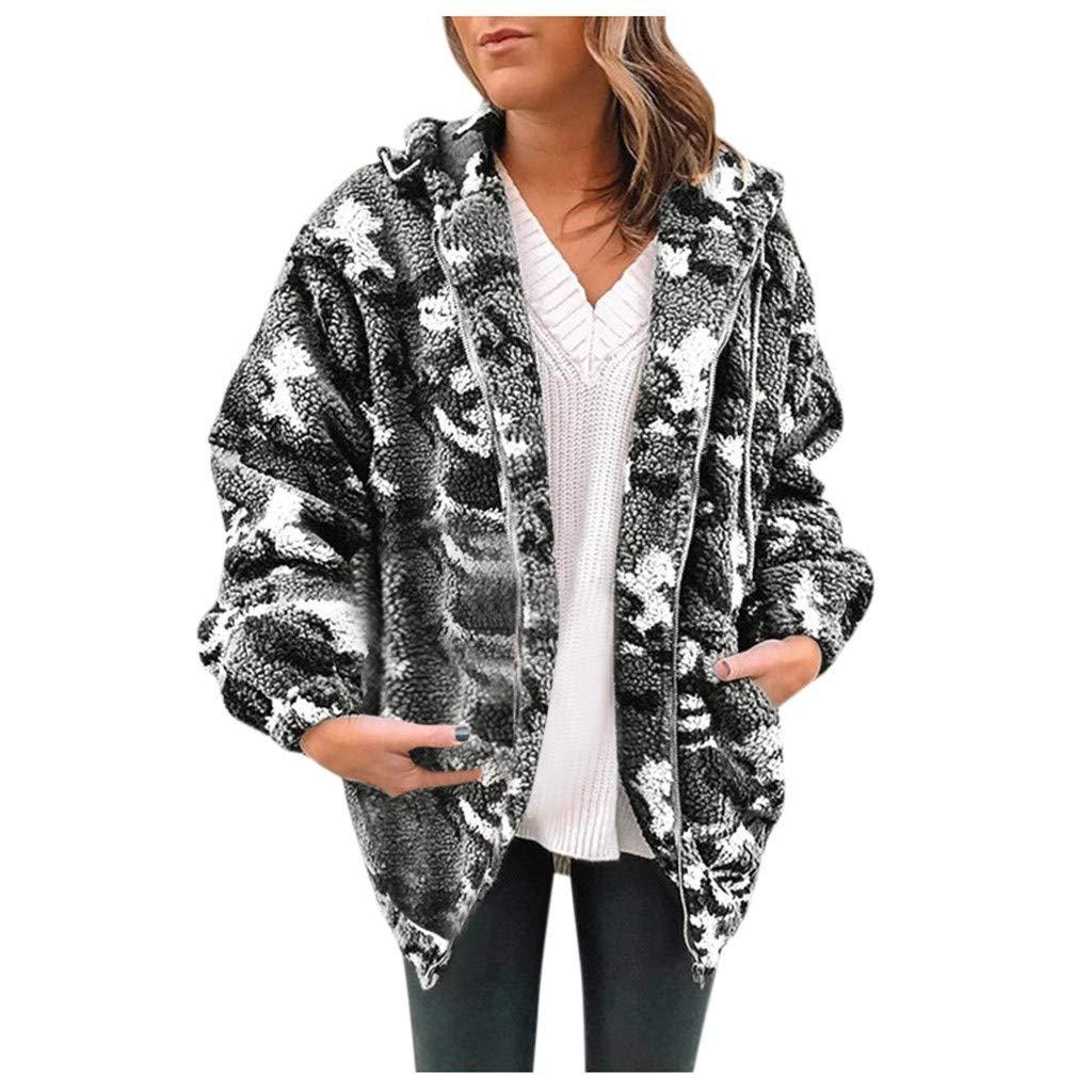 AHUIGOYCE Women's Fuzzy Fleece Jacket Winter Warm Oversized Camouflage Coat Zip up Hooded Sherpa Pullover Outerwear by AHUIGOYCE