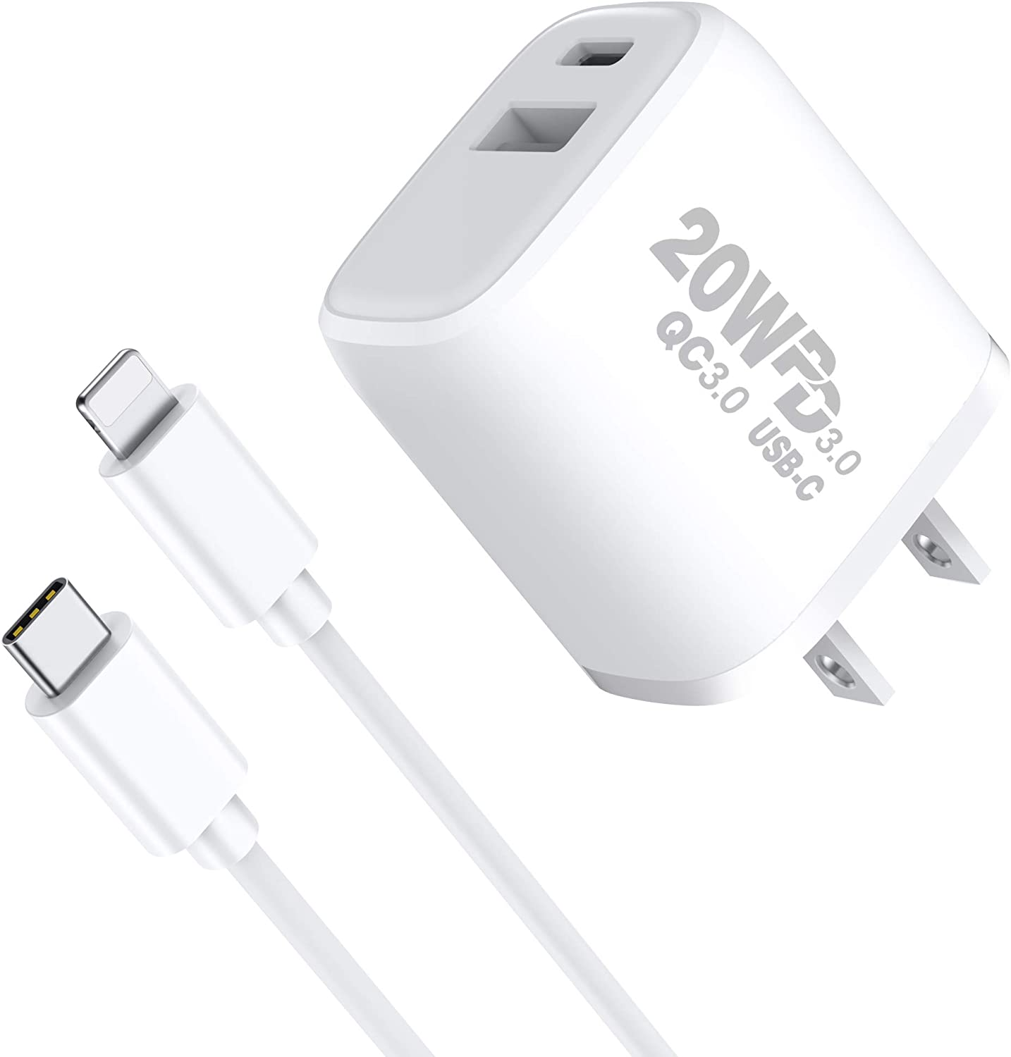 TISSYEE iPhone Fast Charger, 20W USB C Power Delivery with QC 3.0 2 in 1 Fast Charger,MFI Certified Charger for iPhone 12/12 Mini/12 Pro/12 Pro Max, iPad Pro, AirPods Pro, and More (White)