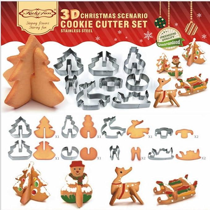 liquidpan Navidad Cookie Cutter Set - 8 piezas Cortador de galletas de moldes para galletas | Árbol de Navidad de Navidad | muñeco de nieve cortador de ...
