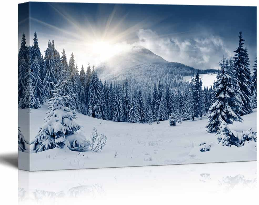 """wall26 - Winter Mountain Snow Covered Trees - Canvas Art Wall Art - 24"""" x 36"""""""