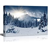 """wall26 - Winter Mountain Snow Covered Trees - Canvas Art Wall Art - 12"""" x 18"""""""