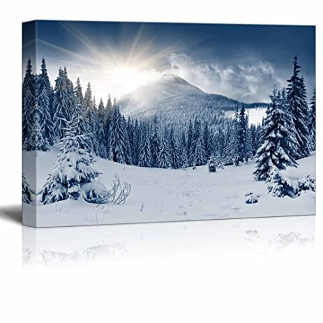 Wall26 canvas prints wall art beautiful scenery landscape winter mountain with snow covered trees