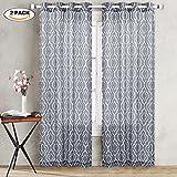 IdealHouse Semi-sheer Window Curtain, Moroccan Poly Linen Curtains Lattice Flax Linen Textured Grommet Curtains Geometric Window Treatment Drapes(Grey, 52″ W x 95″ L, 2 Panels)