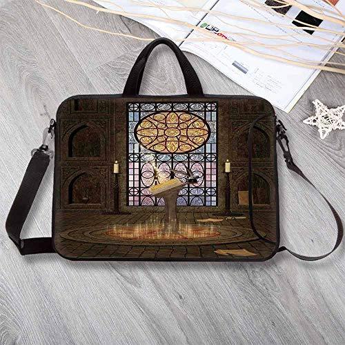 Gothic Neoprene Laptop Bag,Lectern on Pentagram Symbol Medieval Architecture Candlelight in Dark Spell Altar Laptop Bag for Office Worker Students,14.6