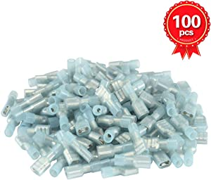 XHF 16-14 AWG Female Spade Disconnect Connectors Terminals Nylon Fully Insulated Quick Crimp Wire Connectors 100 Pcs Blue
