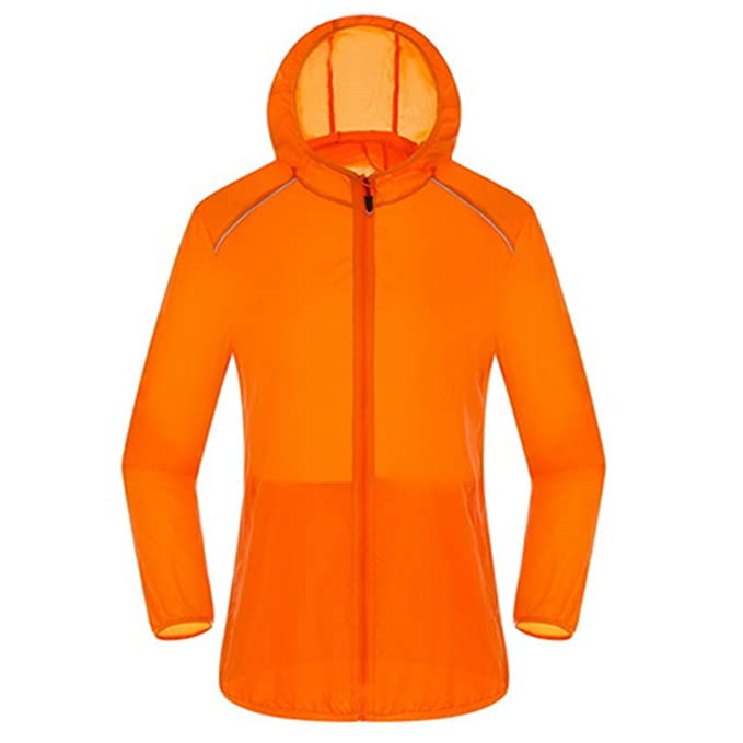 Ultra Light Basic Jacket Women Men Waterproof Coat Summer Windbreaker Girls Female Jackets Hooded Orange S