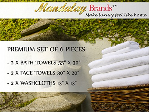 Luxury Hotel & Spa set of 6-piece Towels, 750GSM,100% Long Staple Combed Cotton. Premium set of 2 bath towels, 2 hand towels, 2 washcloths, Color (White) by Mandalay Brands (Image #6)