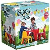AVANTI TRENDSTORE - Set per bambini con 1 tavolo e 4 sedie in plastica sintetica colorata, ca. 55,5x37,5x55,5 cm / 35x41x28 cm