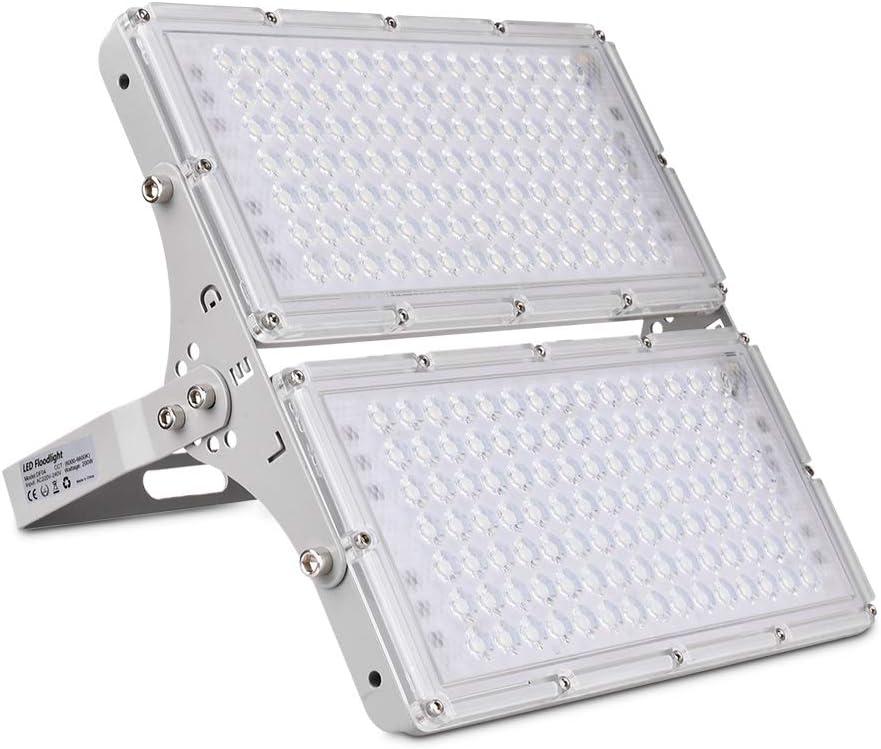 200W Focos LED Exterior, Sararoom Floodlight 180° Ultrafino Rotación Proyector Reflector Luz IP66 20000LM Foco Módulo LED para jardín Escuela estadio etc Iluminación Exterior(Blanco frio)