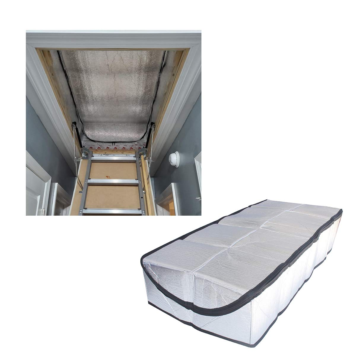 Attic Stairway Insulation Cover - Premium Energy Saving Attic Stairs Door Ladder Insulator Pull Down Tent with Zipper 25 in x 54 in x 11In by DGSL