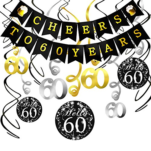 60th Birthday Decorations Kit- Konsait Cheers to 60 Years Banner Swallowtail Bunting Garland Sparkling Celebration 60 Hanging Swirls,Perfect 60 Years Old Party Supplies 60th Anniversary Decorations -