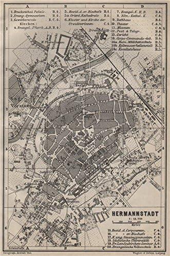 Amazon Com Sibiu Hermannstadt Antique Town City Planul Orasului