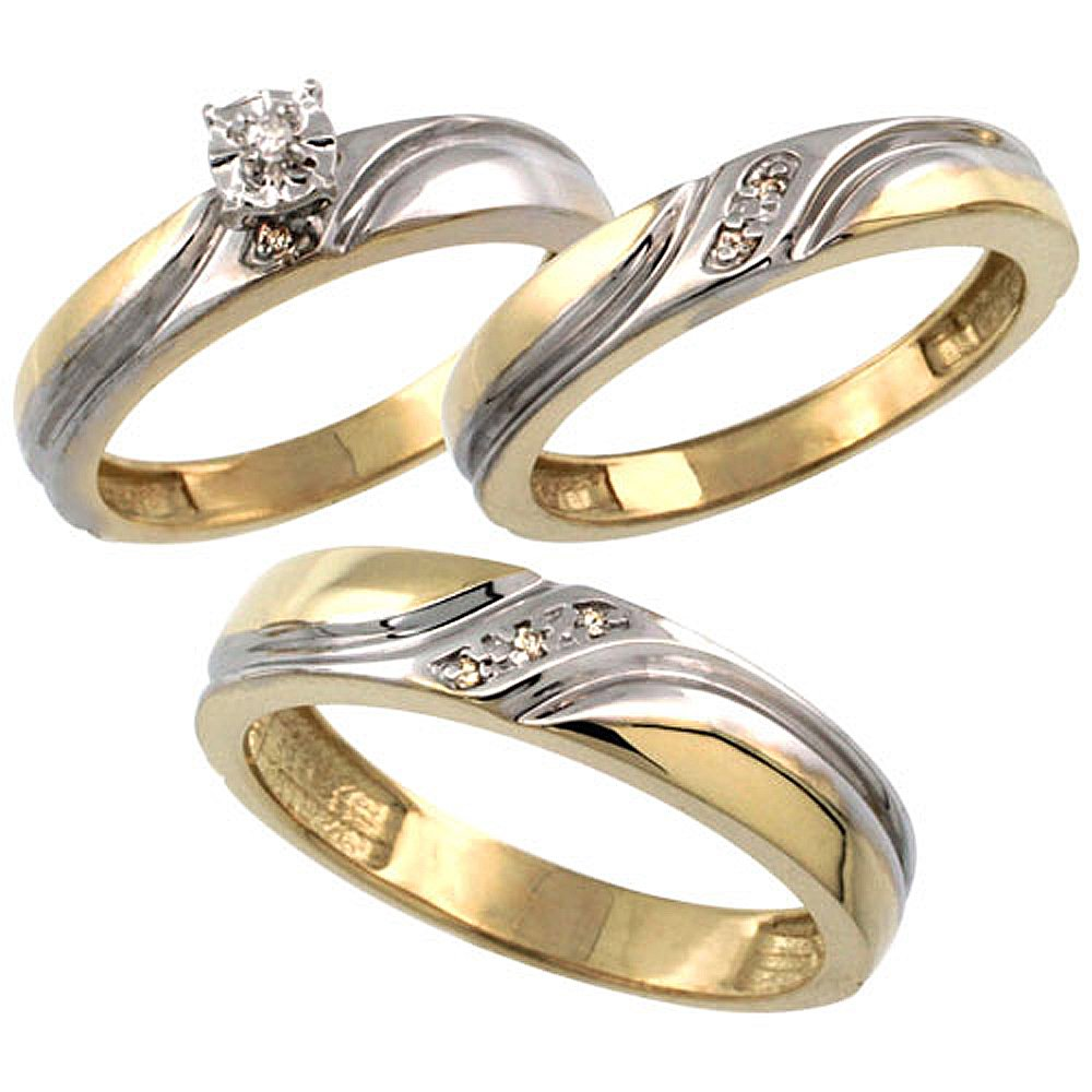 Gold Plated Sterling Silver Diamond Trio Wedding Ring Set His 5mm & Hers 4mm 0.062 cttw, Ladies Size 5