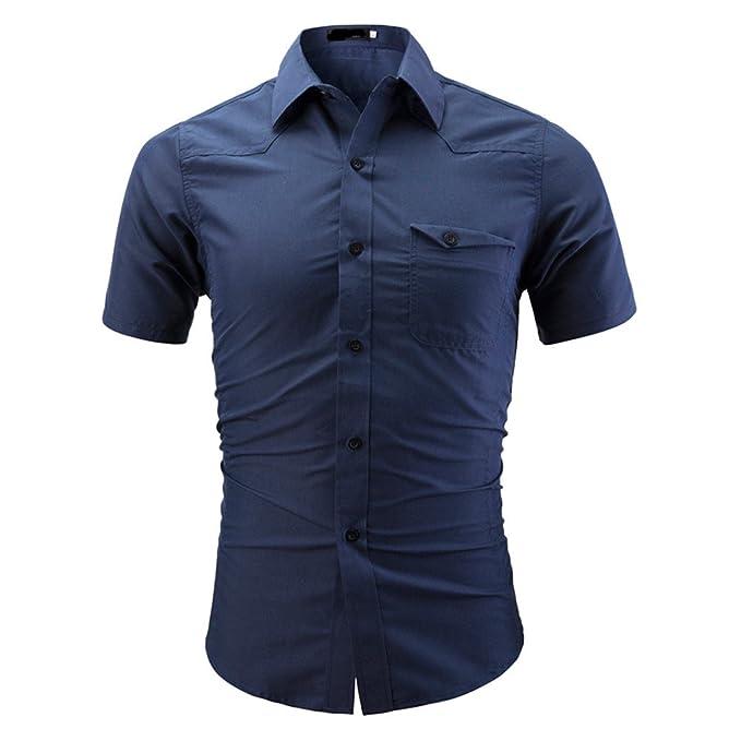size 40 1bd45 abbf7 FRAUIT Herren Herren-Hemd Slim-Fit Kurzarm-Hemden Authentics ...