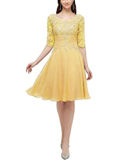 be2d1003e09 UGLY Knee Length Mother of The Bride Dresses with Half Sleeves Lace  Applique Formal Party Dress