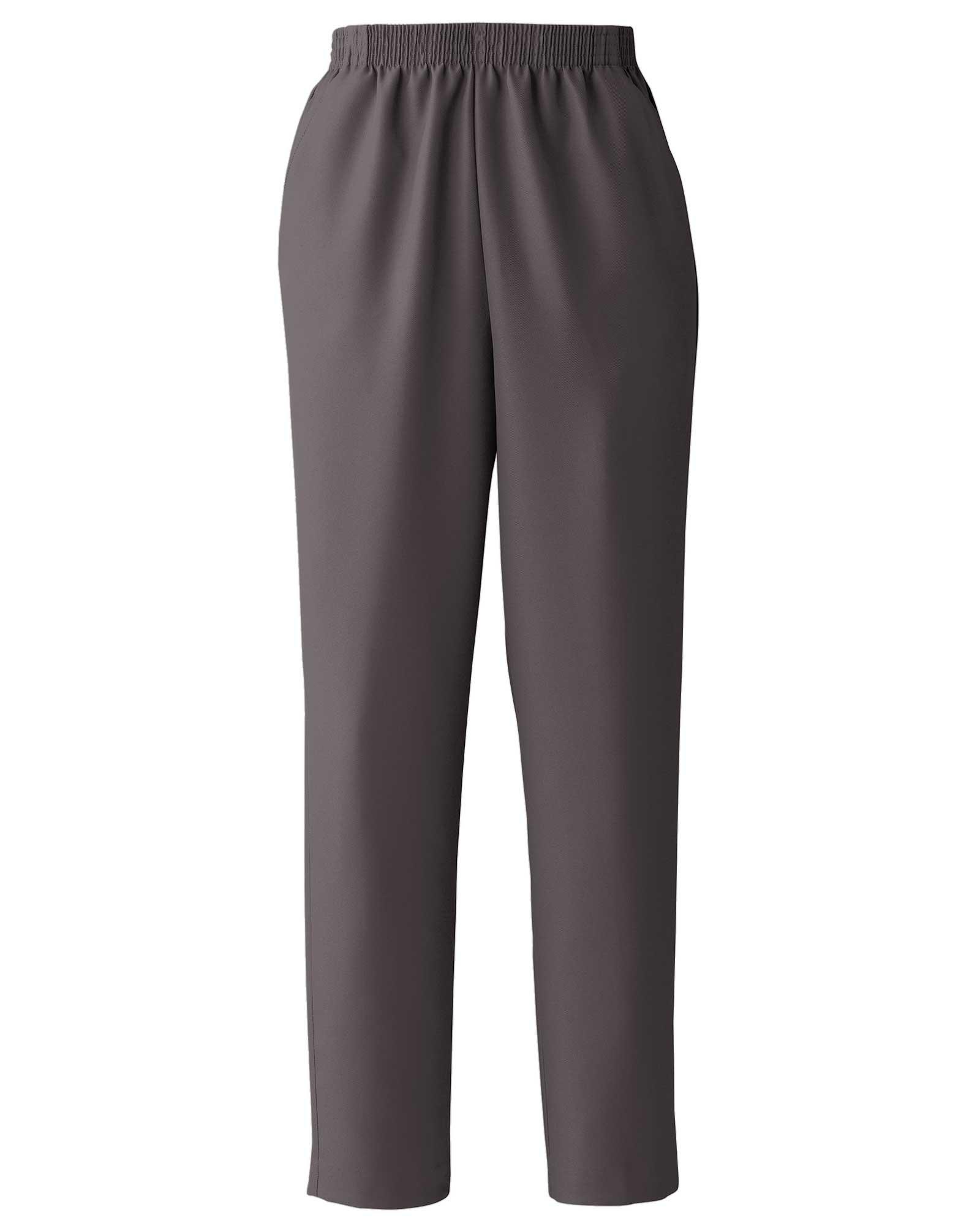 Donnkenny Elastic-Waist Gabardine Pull-On Pants, Charcoal, 12