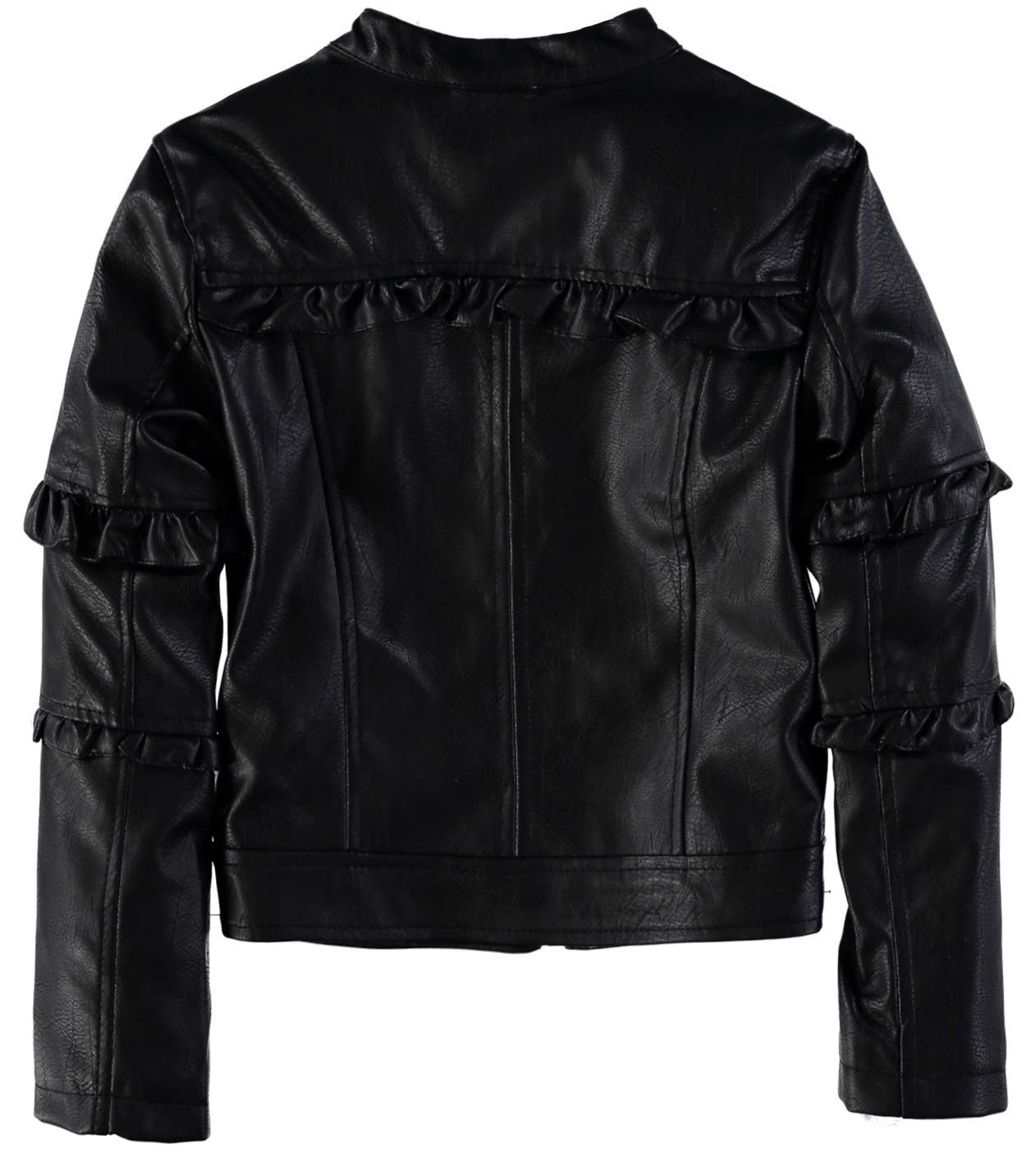 Urban Republic Girls' Faux Leather Ruffle Moto Jacket (Black, 7/8) by Urban Republic (Image #2)