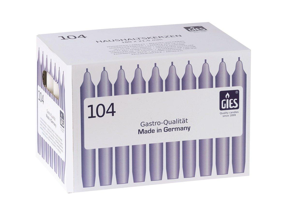 Gies 205-149001-10 Carton de 104 bougies chandelles Blanc 180 x 21, 5 mm