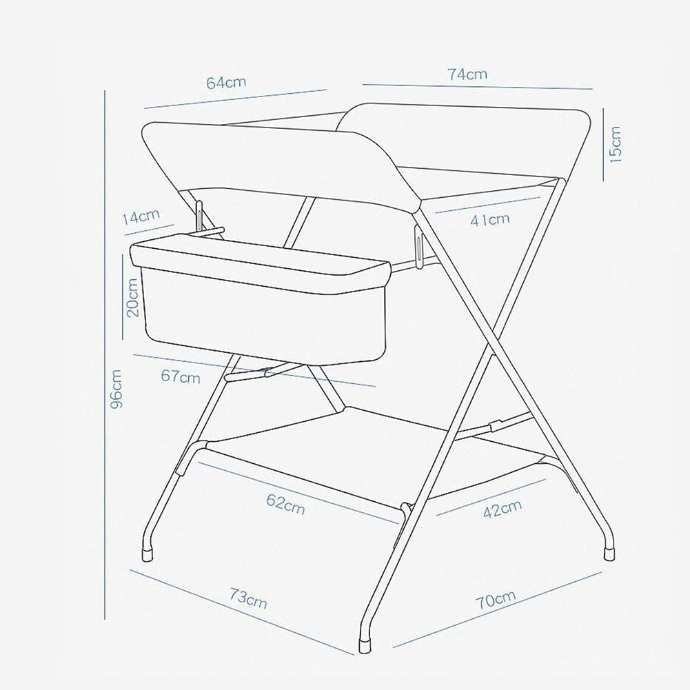 Foldable Cross Leg Style Black 73x70x96cm DLYET Changing Table Baby with Large Storage Black Dresser Station Suitable for 0-3 Years Old Infant