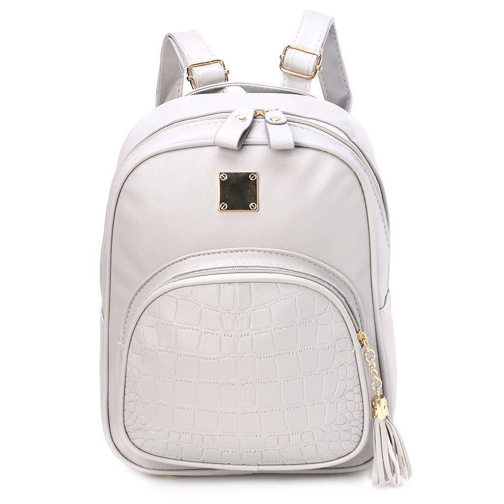 JAGENIE Girls Women's Fashion Leather Travel Shoulder Backpack School Rucksack Bags New Gray