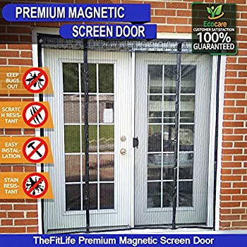 TheFitLife Double Door Magnetic Screen   Heavy Duty Mesh Curtain With Full  Frame Velcro And Powerful Magnets, Snap Shut Automatically For Patio, ...