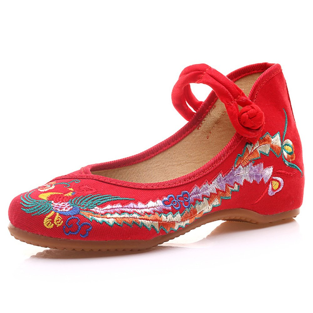 Meta-U Femmes Chaussures Chaussures Brodées- Phoenix Wedge- Toile- Phoenix Chaussures Pattern- Mary Jane Chaussures Rouge 0e4c2d4 - boatplans.space
