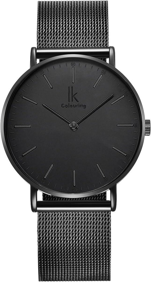 Alienwork IK Ø40mm Unisex Relojes Hombre Banda de Malla Metálica