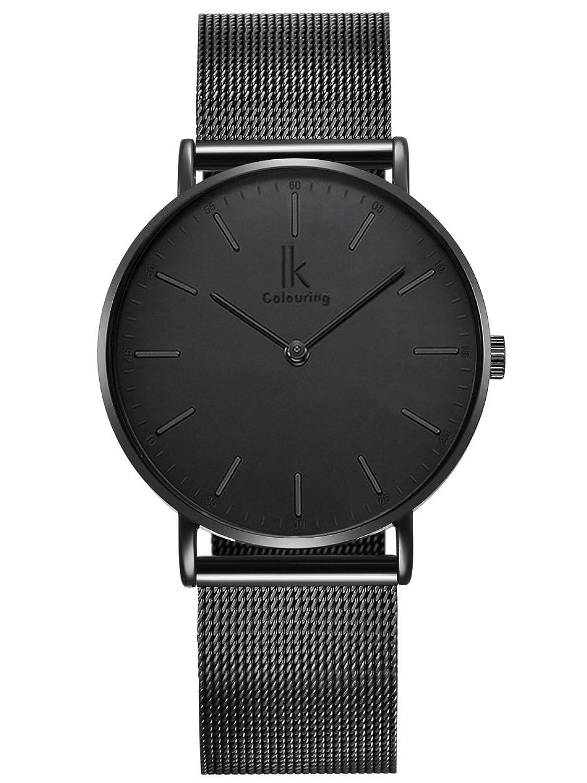 alienwork ik all black quarz armbanduhr ultra flach uhr. Black Bedroom Furniture Sets. Home Design Ideas