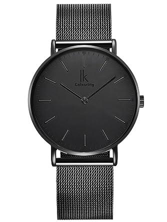 Alienwork IK All Black Reloj Unisex Relojes Mujer Hombre Acero Inoxidable Negro Analógicos Cuarzo Impermeable Ultra-Delgada: Amazon.es: Relojes