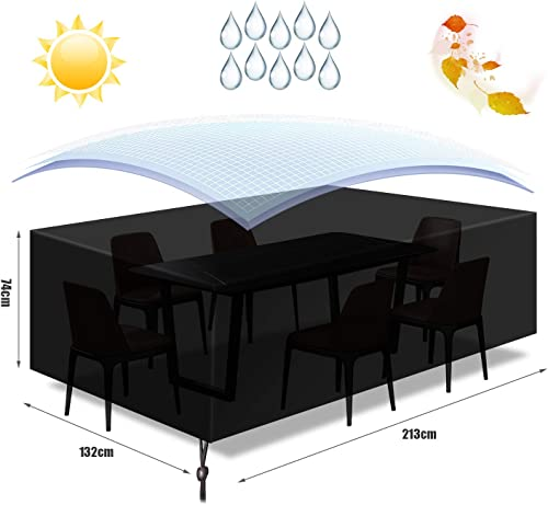 GLCS GLAUCUS Garden Furniture Cover Outdoor Garden Patio Table Cover Rectangular Oxford Fabric Windproof Waterproof Anti-UV Furniture Protection 213 132 74cm