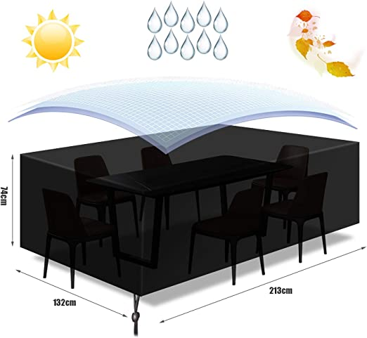 Funda para Muebles Impermeable, Funda Mesa Jardin, Cubierta para Exterior Funda Protectora Muebles Mesas Sillas Sofás Exterior 420D Oxford Impermeables Anti-Viento/UV (213x 132 x 74CM)-Negro: Amazon.es: Jardín