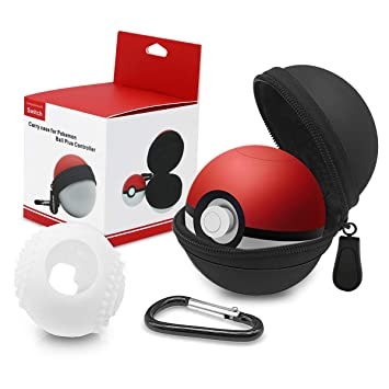 Funda para Pokeball Plus Nintendo Switch Kimood Bolsa para Transportar Pokémon Lets Go Pikachu Eevee Game para Nintendo Switch (Negro Funda de ...