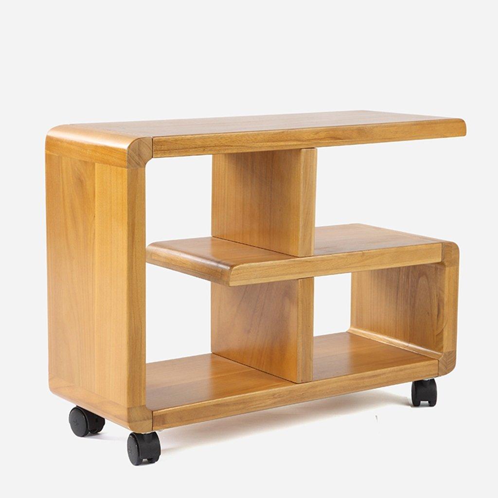 YJH+ Sofa Side A Few, Massivholz Mobile Side Cabinet Regal Tee Beistelltisch Sofa Bücherregal Wohnzimmer Eckschrank Winkelrahmen Ganzes Paulownia 60cm  23cm  45.5cm Schön und großzügig ( Farbe   A ) A